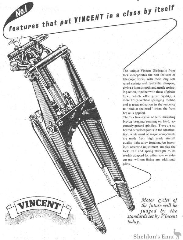 Vincent 1953 Girdraulic Forks