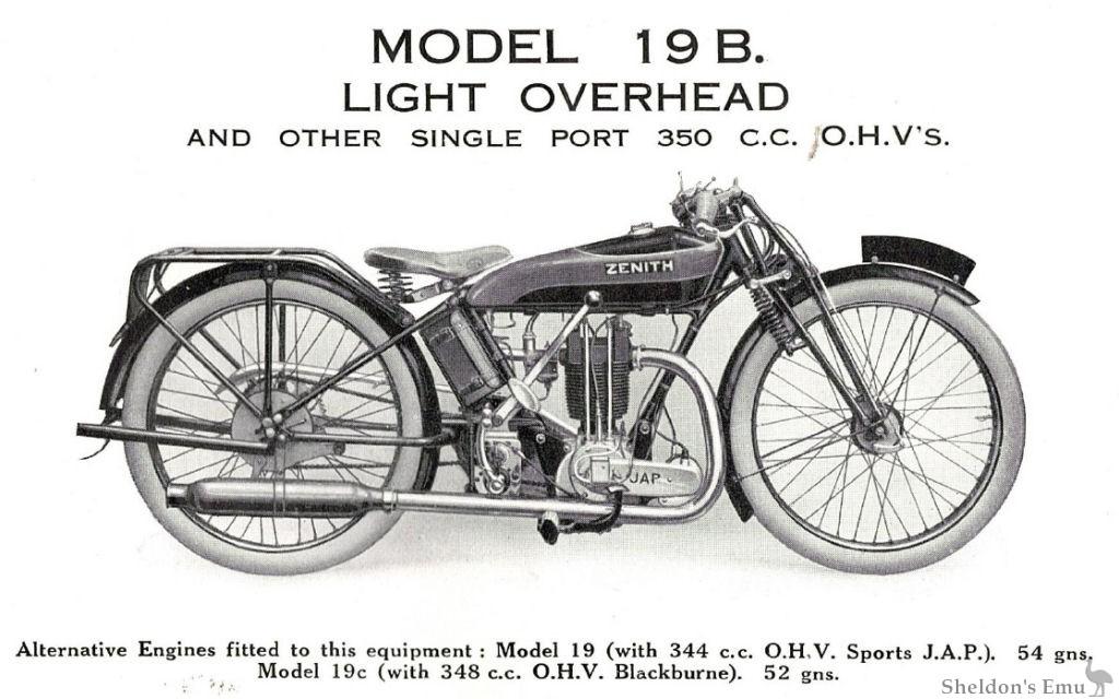 Zenith Model 19B 350cc OHV 1927