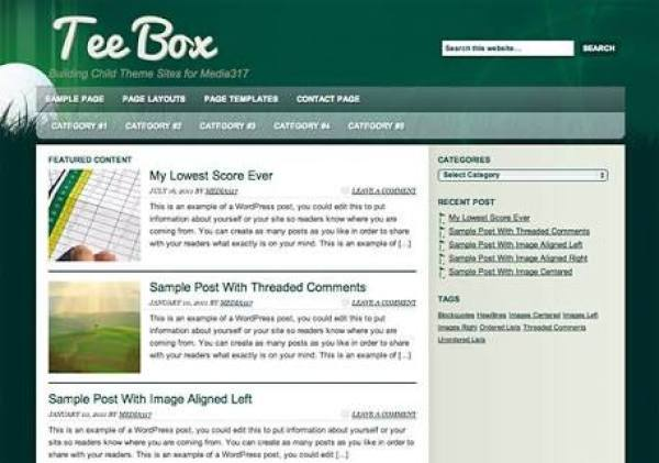 Tee box wordpress child theme free download