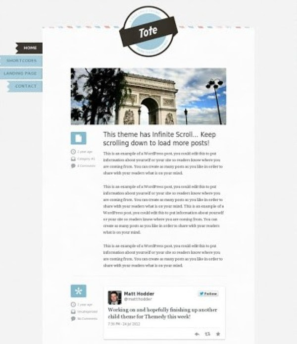 tote free wordpress child theme