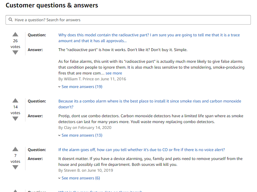 question and answer on amazon product page