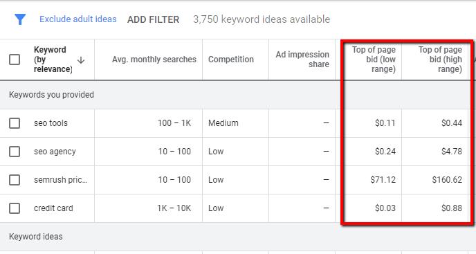 Google keyword planner page