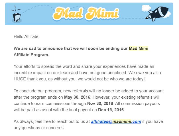 madmini closing affiliate program