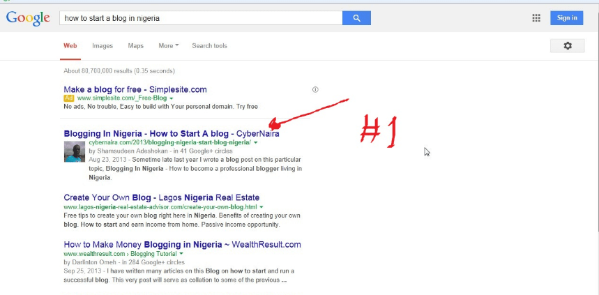 third #1 position in Google search for a relevant keyword