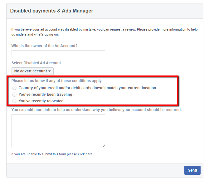 Facebook disable payment appeal form page
