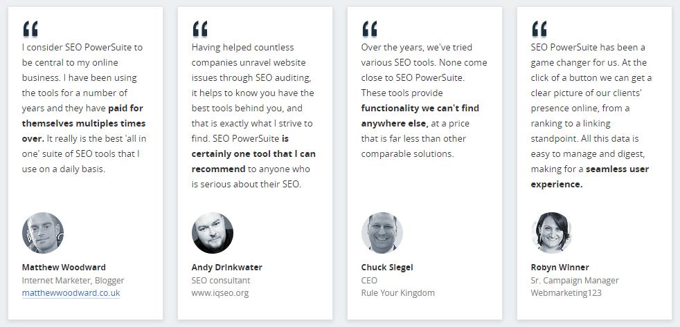 SEO Powersuite users testimonies page - image