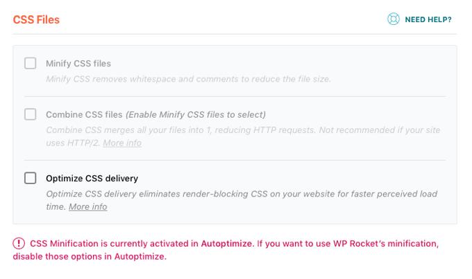 Wp rocket minification option setting
