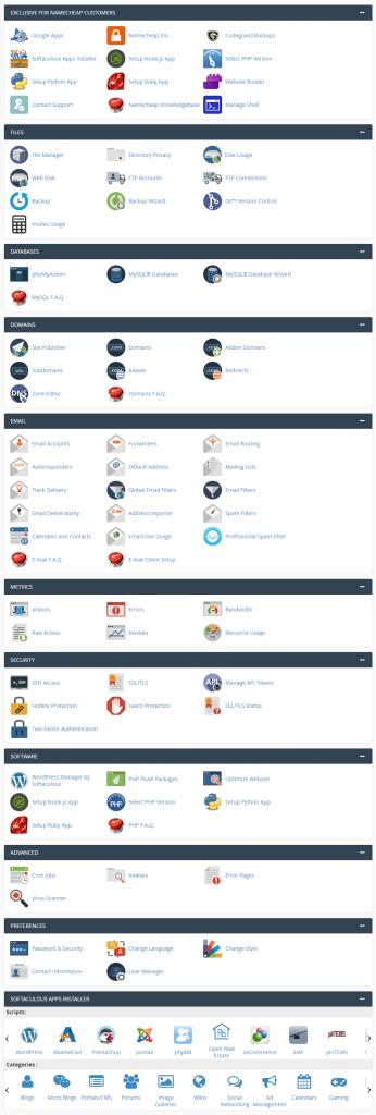 namecheap shared hosting cpanel image