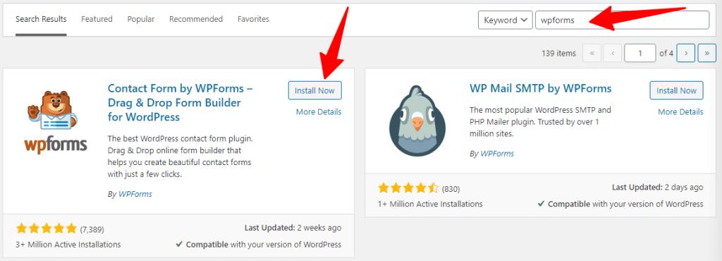 WordPress Plugin search box