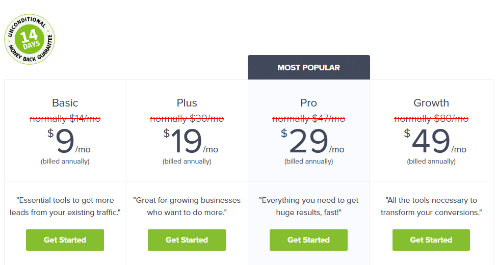 optin monster yearly plan and pricing table