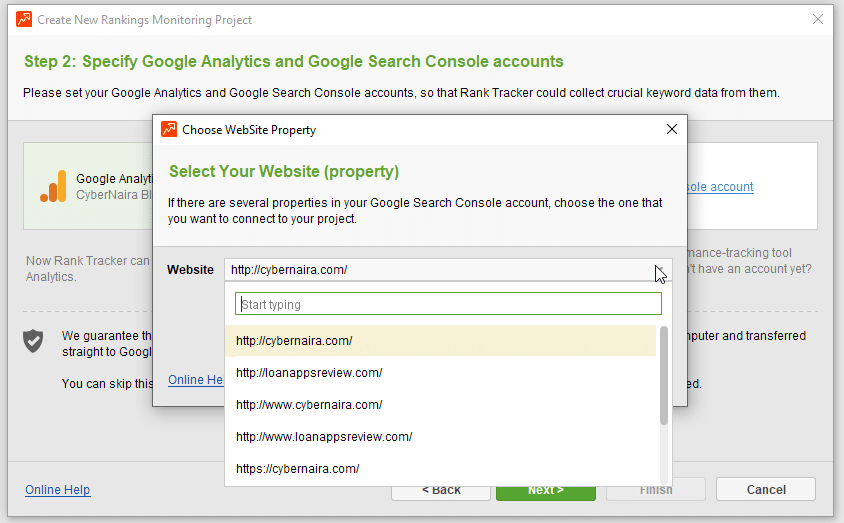 select search console website property in rank tracker