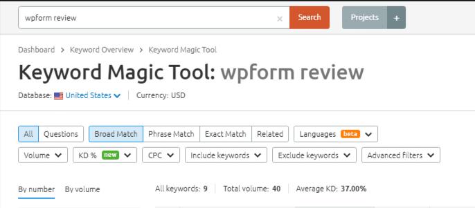 keyword research with Semrush keyword magic tool