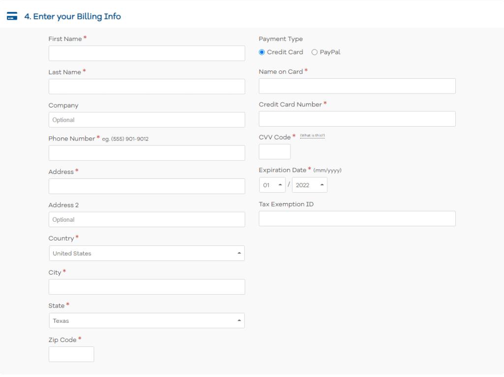 Billing information form in HostGator