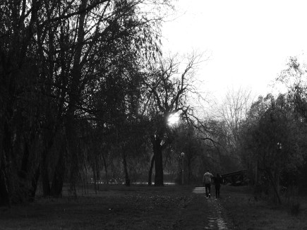 Walking into the sunset, B&W