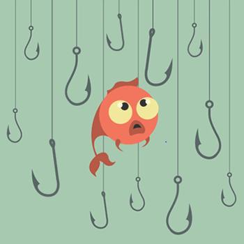 Phishing illustration. En fisk omgivet af kroge.