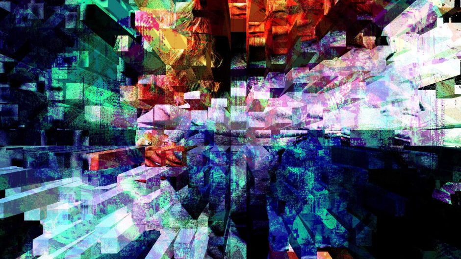 Glitchy, static abstract art.