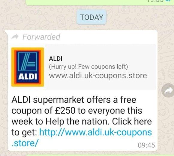 Aldi Gift Card Scam Tweet