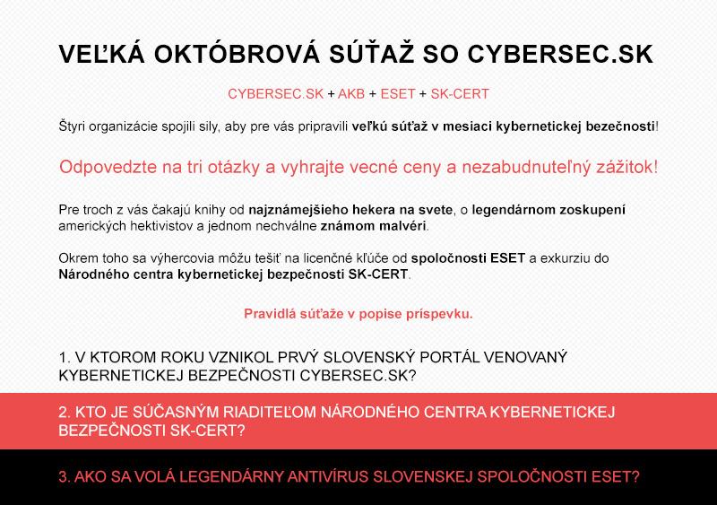 Vyhodnotenie veľkej októbrovej súťaže so CyberSec.sk!