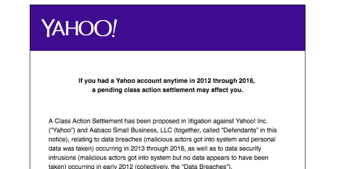 Yahoo Security Breach Proposed Settlement