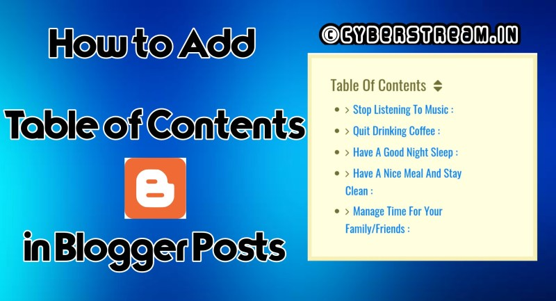 How to Table of Contents in Blogger Posts