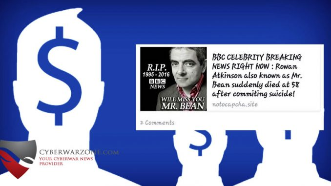 Rowan Atkinson suicide dead hoax on Facebook