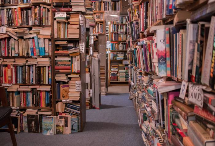 neverending books on shelves