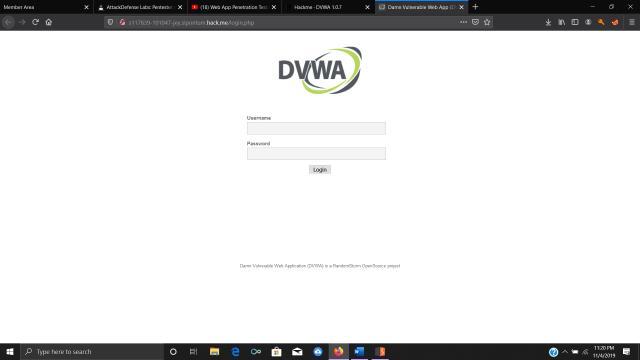 DVWA login screen