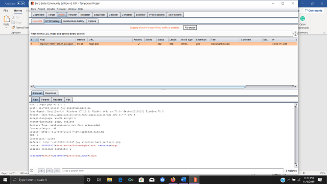 Viewing HTTP history in Burp Suite
