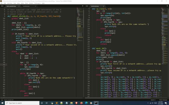 Python subnet calculator subnet_divider