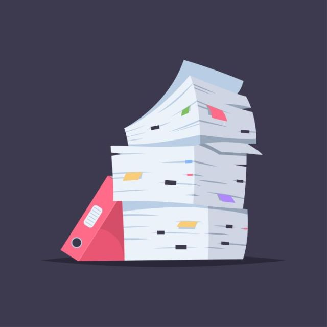 Illustration of a stack of documentation