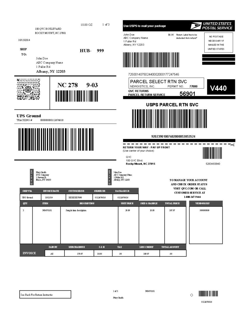 Qvc Return Label : return, label, Packing, Template, CYBRA, Corporation