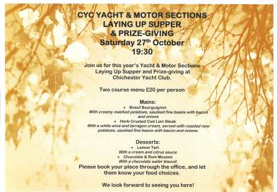 CYC Yacht & Motor Sections Laying Up Supper & Prize- Giving