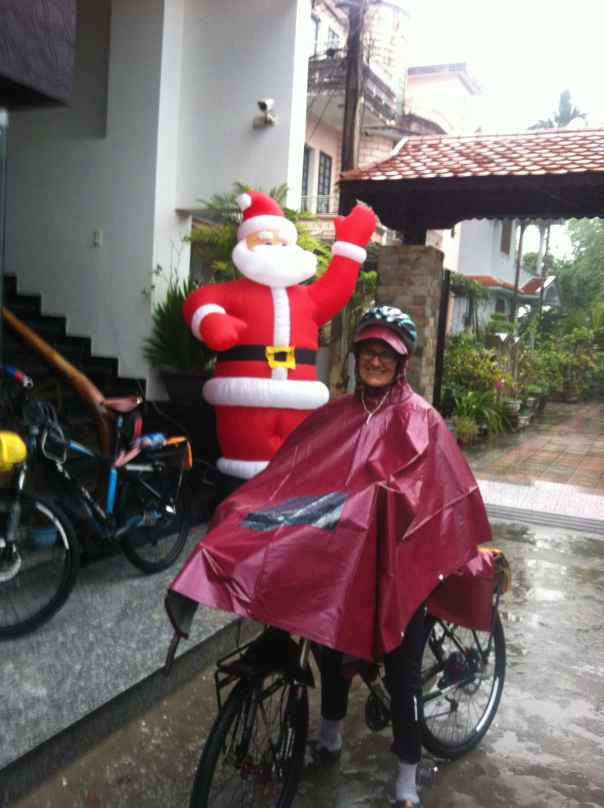 My new rain poncho is just like the thousands of motorcyclists and bicycle riders here in Vietnam. Rain will not stop me from riding.