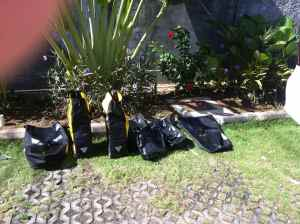 Clean panniers drying in the hot sun.