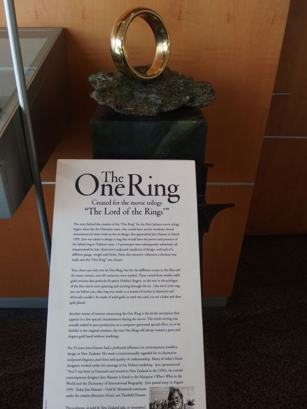 This is one of many rings used in LOTR. We saw this at the WOW museum which someone told us we should visit.