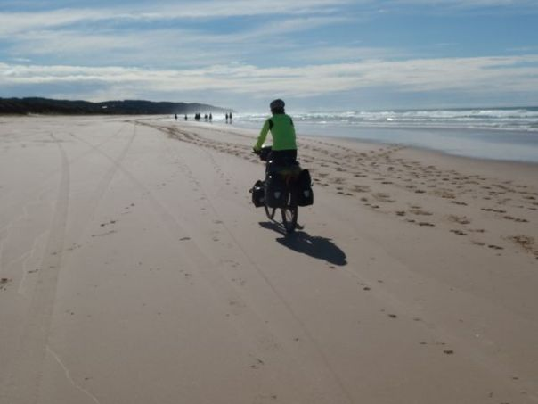 Cycling on the sand from Lennox Head to Broken Head.