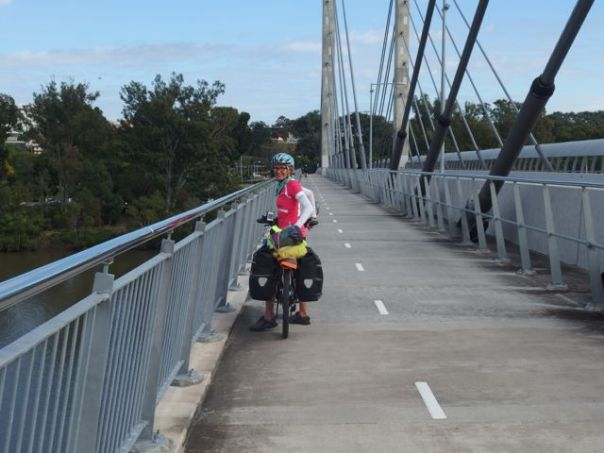 This bridge as three separate lanes - one for bicycles, one for buses, and one for pedestrians.