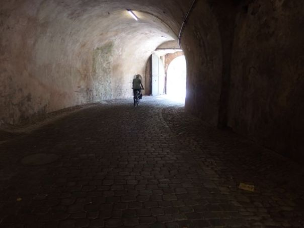 The ancient tunnel from the Ehrenbreitstein Fortress downhill to Koblenz.
