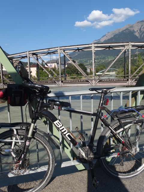 The view of the bridge in Brig where I turned around. The extra 20 km was worth it.