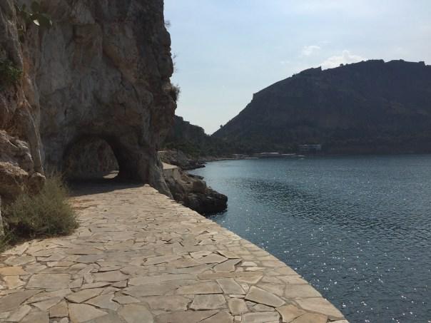 Riding along the stone path surrounding the Nafplio peninsula.
