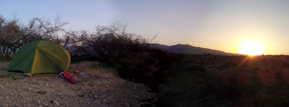 The sun coming up after the first of three fantastic nights in the wild.