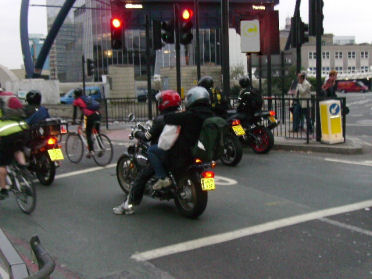The ASLs at Old Street roundabout are regularly filled with motorbikes