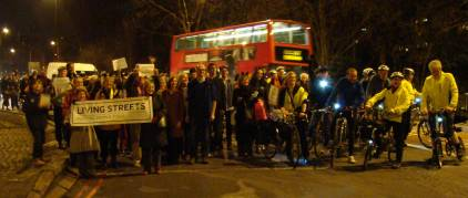 Making our way around the roundabout - ICAG didn't get its banners because we are shy. credit Jim Jepps@bigsmoke.org.uk