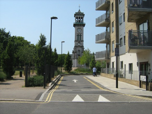 Cyclists can at present travel along to the entrance to Clock View Crescent, shown here, with poles awaiting One-way signs.