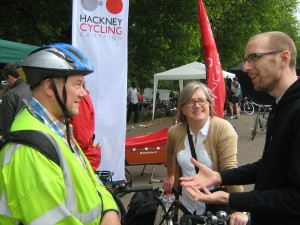 But we were visited by four Islington Councillors; here Nick is talking to two of them - Gary Heather and Caroline Russell