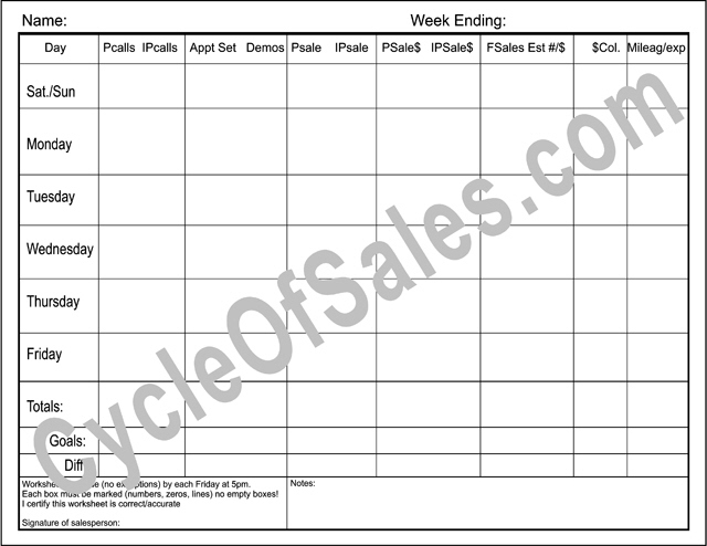 Direct Sales Weekly Worksheets