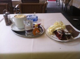 Now this is much later, in Vienna... they know how to do coffee and cake. BOOOM!