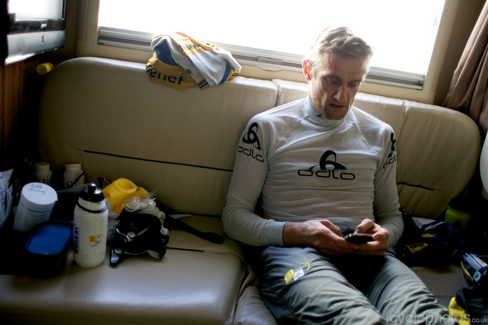 Bart relaxes before the warm-up for the race begins.