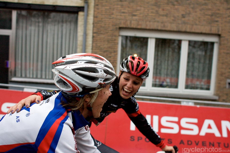 NIkoline Hansen and Tessa Van Nieuwpoort rolling back to their cars after the race.