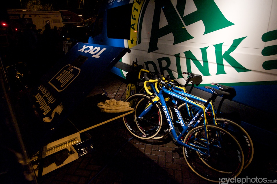 Team AA bikes on display - I don't know whether the lighting was conscious but it looked great.